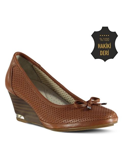 Marjin % 100 Deri Dolgu Topuk Ayakkabı Taba